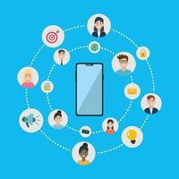 Diseño plano de redes sociales con teléfono inteligente. vector