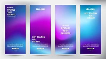 Conjunto de banner de volante de folleto comercial enrollable púrpura borroso