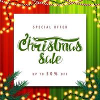 Special offer, Christmas sale, up to 50 off. Red and green square discount banner with Christmas garland and white paper sheet