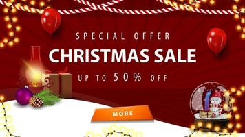 Special offer, Christmas sale, up to 50 off, red discount banner for homepage your website with antique lamp and snow globe