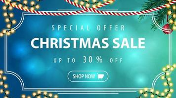 Special offer, Christmas sale, up to 30 off, blue horizontal discount banner with vintage frame, garland and Christmas tree branch vector