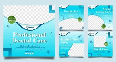 Plantillas de publicaciones de redes sociales de dentista. Banner de web cuadrado de promoción médica. vector