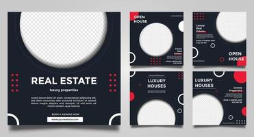 Real Estate Promotion square banner social media templates. vector