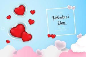 Precioso fondo estacional del día de San Valentín con formas de corazones brillantes y en zig-zag.
