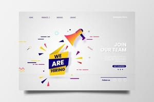 estamos contratando mecanografiado para la página de inicio web con campaña de icono de megáfono.