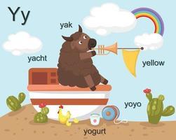 alfabeto y letra, yak, yate, yogur, yoyo, amarillo