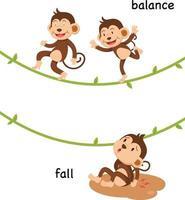 Ilustración de vector de caída y equilibrio opuesto