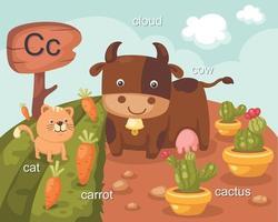 alfabeto c letra gato, zanahoria, nube, vaca, cactus vector