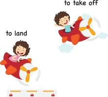 Palabras opuestas para aterrizar y despegar ilustración vectorial
