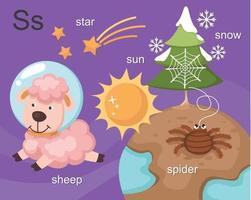alfabeto s letra estrella, sol, oveja, araña, nieve