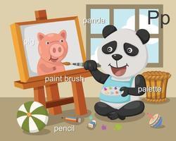 alfabeto p letra cerdo, panda, pincel, lápiz, paleta