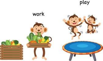 Ilustración de vector de trabajo y juego opuesto