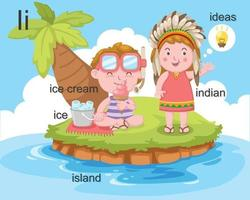 alfabeto i letra hielo, helado, isla, indio, ideas.