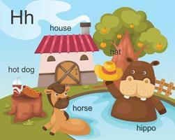 alfabeto h letra hot dog, casa, sombrero, caballo, hipopótamo.