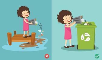 No arroje basura al río, ilustración vectorial incorrecta y correcta vector