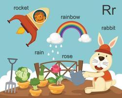 letra del alfabeto r, cohete, lluvia, rosa, conejo, arco iris