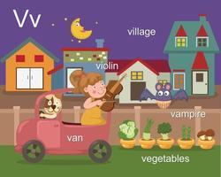 alfabeto v letra furgoneta, violín, pueblo, vampiro, verduras
