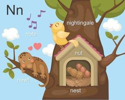 alfabeto n nota de la letra, tritón, nido, nuez, ruiseñor.