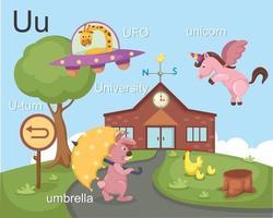 alfabeto u letra ufo, paraguas, universidad, unicornio