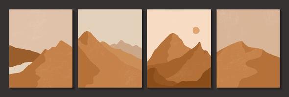 carteles abstractos de estética contemporánea con desierto. vector