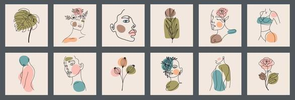 Big background set of faces, leaves, flowers, abstract shapes. Ink painting style. Contemporary Hand drawn Vector illustrations. Continuous line, minimalistic elegant concept All elements are isolated