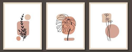 Set of flowers continuous Line art vector