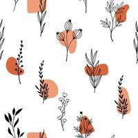 dibujado a mano varias flores y formas