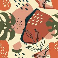 Trendy seamless exotic pattern with palm leaf and geometric elements vector