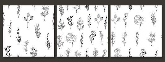 Hand drawn seamless pattern with flower and leaves vector