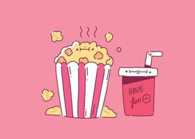 Popcorn with a soft drink glass for the cinema hand style cinema doodle vector illustration