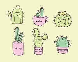 cute succulent, cactus plant with happy face vector illustration in hand drawing style