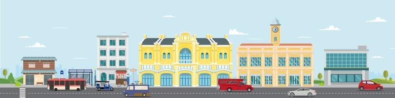 Thai culture street with vintage building and market. Vector illustration. Cars driving city street panorama Thailand urban. Facade city and car. Thai classic home. City scape with sky background.