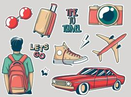 Colorful Hand drawn travel stickers collection vector