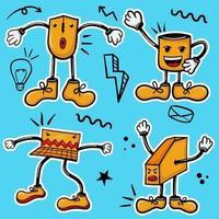 colección colorida de pegatinas de personajes de kit de oficina dibujados a mano vector