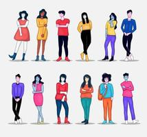 group of people illustration collection vector