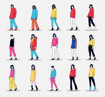 Collection of people character illustration doing photo pose vector