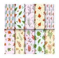 colección de patrones florales sin fisuras vector