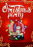 Red Christmas party poster with garland and snow globe with snowman