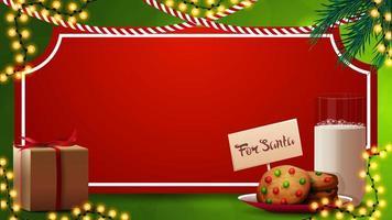 Plantilla navideña para tus artes con hoja de papel rojo en forma de boleto vintage, ramas de árbol de navidad, guirnaldas y galletas con un vaso de leche para santa claus