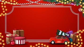 Red Christmas template with presents, vintage frame, garland and Happy New Year, red postcard with garland, Christmas tree branches and red vintage car carrying Christmas tree