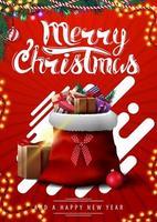 feliz navidad, postal vertical roja con formas abstractas, guirnaldas y bolsa de santa claus con regalos
