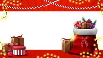 plantilla de navidad para tarjeta de felicitación o banner de descuento. plantilla de navidad con lugar para texto y bolsa de santa claus con regalos