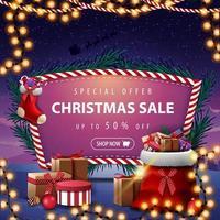 oferta especial, rebajas navideñas, hasta 50 de descuento, banner de descuento con bolsa de santa claus con regalos, medias navideñas y un hermoso paisaje de fondo