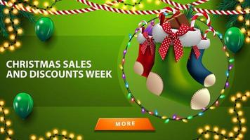 Christmas sales and discount week, horizontal green discount banner with balloons, garlands, Christmas stockings and button vector