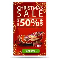 Christmas sale, up to 50 off, red vertical discount banner with garlands, button and Santa Sleigh with presents vector