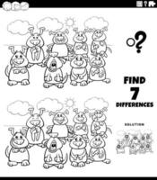 differences educational activity with dogs color book page