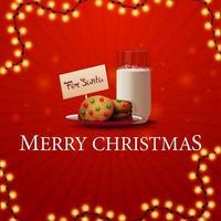 feliz navidad, tarjeta de felicitación roja cuadrada con guirnalda y galletas con un vaso de leche para santa claus