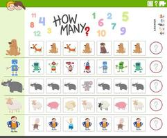 counting task for kids with funny characters