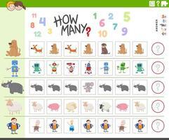 Tarea de conteo para niños con personajes divertidos. vector