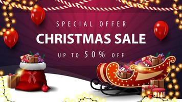 Special offer, Christmas sale, up to 50 off, purple discount banner with garland, red balloons, Santa Claus bag and Santa Sleigh with presents